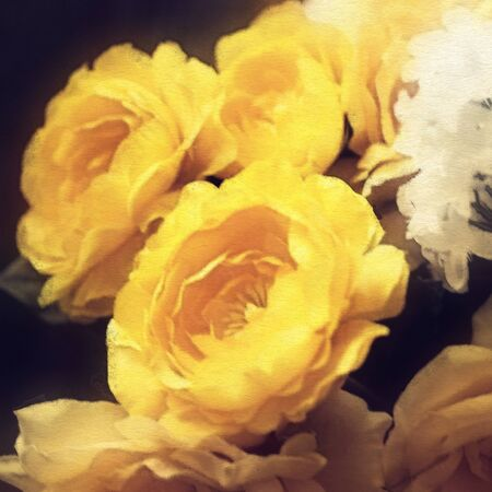 art floral vintage vibrant background with yellow roses photo