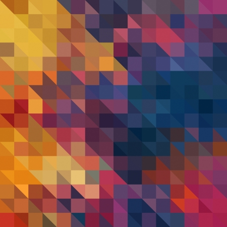 psychedelic background: art abstract vibrant geometric pattern background in blue, gold, red and orange colors Stock Photo