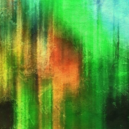 art abstract watercolor background on paper texture in bright green and red colors photo
