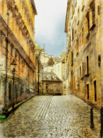 narrow street: art watercolor background with europeans medieval town, narrow street