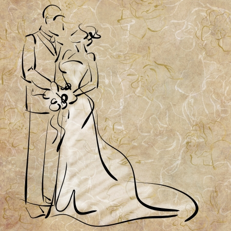 women  s fashion: art sketching beautiful young  bride and groom with the bride