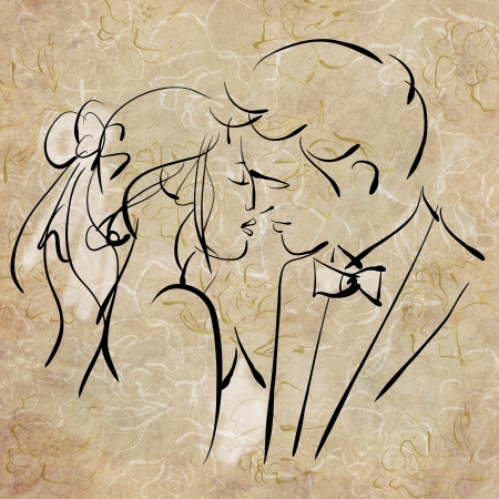 bride groom: art sketching beautiful kiss young  bride and groom
