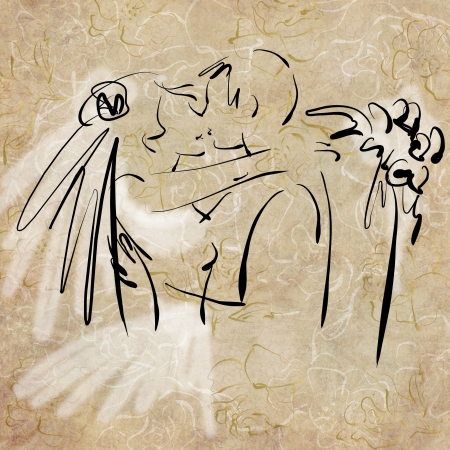 art sketching beautiful kiss young  bride and groom with the bride photo