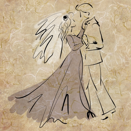art sketching beautiful young  bride and groom in dance photo