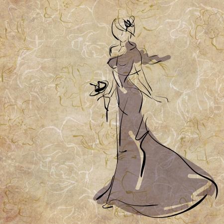 art sketching beautiful young  bride in dance photo
