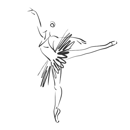 sketch drawing: art sketched beautiful young ballerina in ballet pose Stock Photo