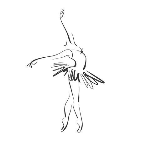 아트 스튜디오에서 포즈 발레에서 아름다운 젊은 발레리나 스케치