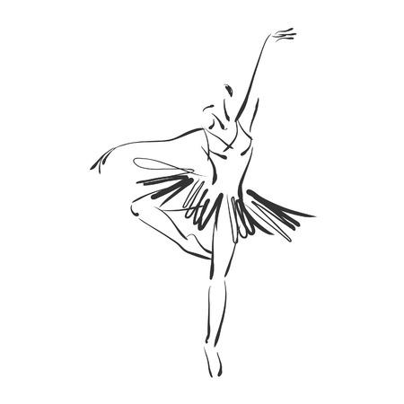 アート スケッチ美しい若いバレリーナ バレエ ダンス スタジオで