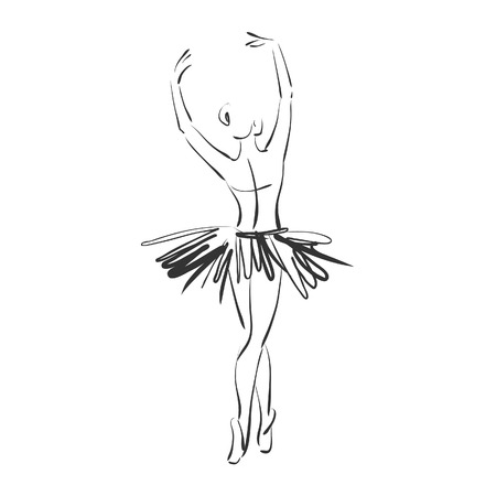 art sketched beautiful young ballerina in ballet pose from the back