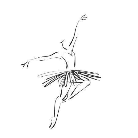 art sketched beautiful young ballerina in ballet pose photo