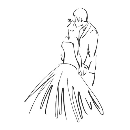 art sketched beautiful young bride and groom photo