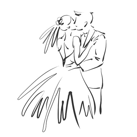 art sketched beautiful kiss young  bride and groom space for text photo