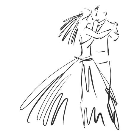 art geschetst mooie jonge bruid en bruidegom in de dans Stockfoto