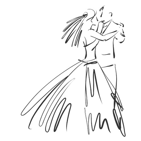 art sketched beautiful young bride and groom in dance