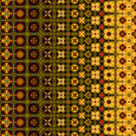 macro: art vintage geometric ornamental pattern, green, yellow and brown border