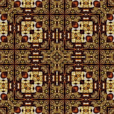 art nouveau geometric ornamental vintage pattern in brown photo