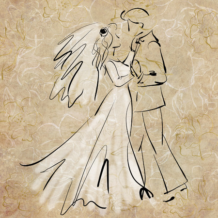 art sketching beautiful young  bride and groom in dance