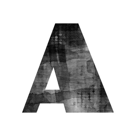 art painted blurred alphabet, black and grey font on white background, sign A photo