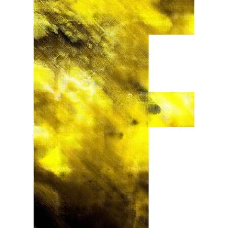 art blurred glass alphabet, golden font on white background, sign F photo