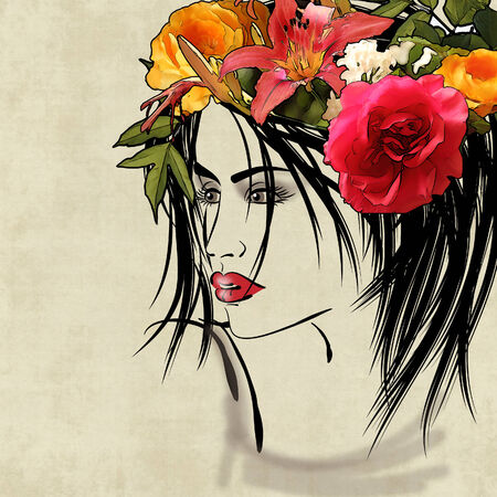 art colorful sketching beautiful girl face on sepia background with flowers photo