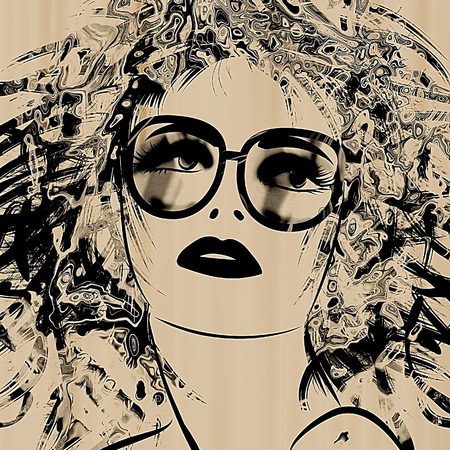 art sketching beautiful girl face with glasses in black color on sepia background photo