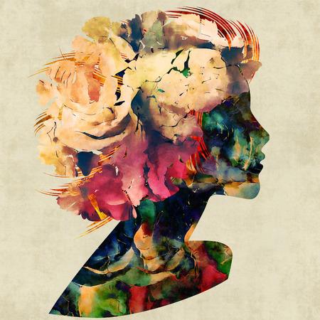 kunst kleurrijke bloemen silhouet profiel van mooi meisje met bloemen krullend haar op sepia achtergrond Stockfoto