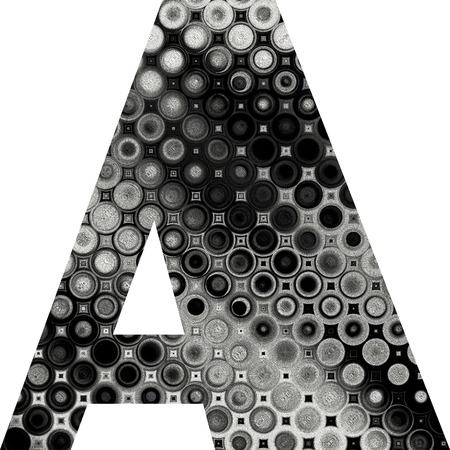 art painted halftone alphabet, black and white font on white background, sign A photo