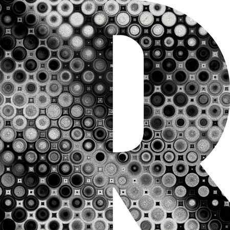 art painted halftone alphabet, black and white font on white background, sign R photo