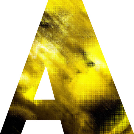 art blurred glass alphabet, golden font on white background, sign A photo