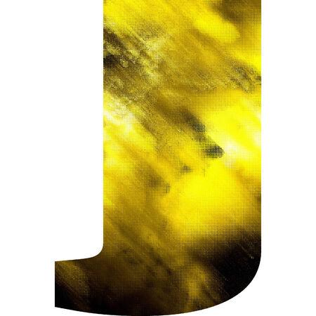 art blurred glass alphabet, golden font on white background, sign J photo