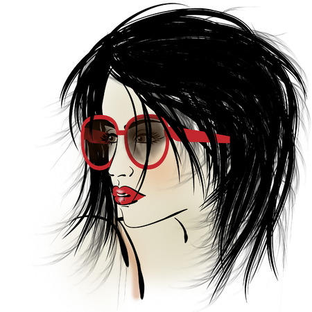 art colorful sketching beautiful girl face with glasses on white background photo
