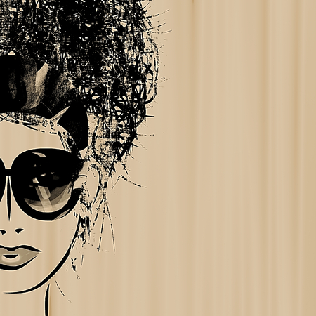 art sketched beautiful girl face in eyeglass on sepia background with space for text photo