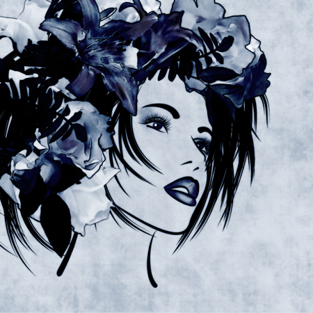 art sketched beautiful girl face with flowers in hair on blue background photo