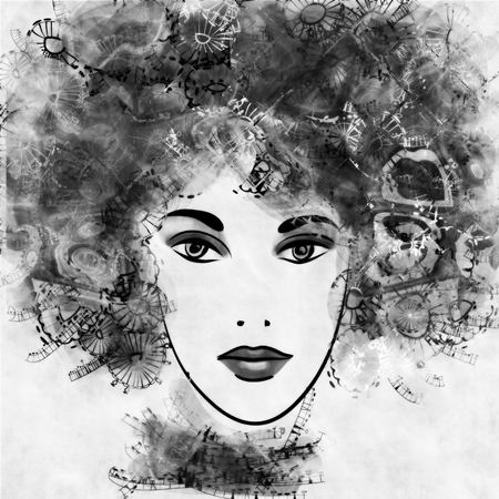 art sketched beautiful girl face with curly hairs  in black graphic on white background photo