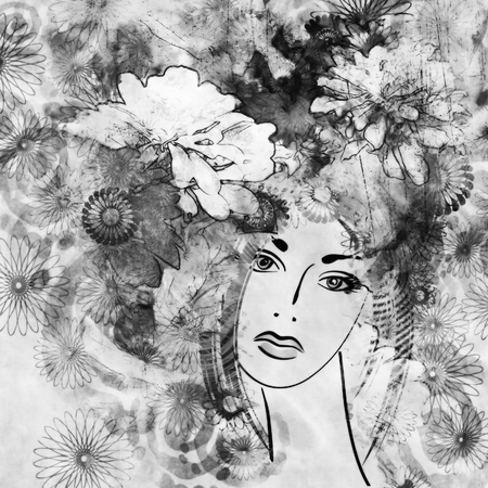 art sketched beautiful girl face with flowers in hair  in black graphic on white background photo