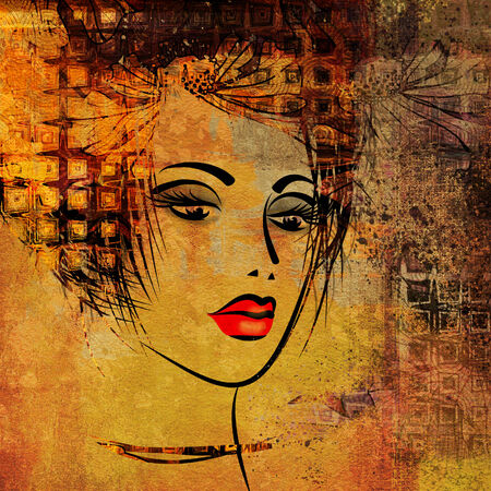 art colorful sketching beautiful girl face on golden background photo