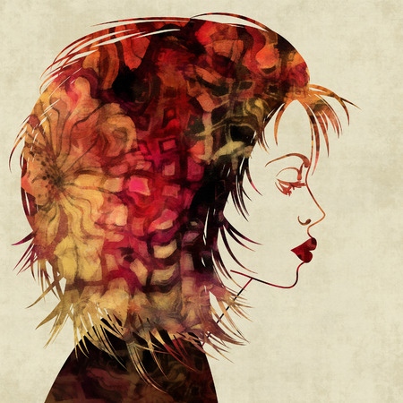 art colorful sketched beautiful girl face in profile with red hair on sepia background photo