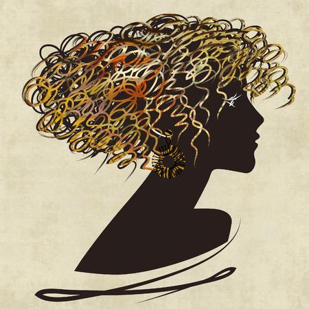 art dark silhouette profile of beautiful girl with golden curly hair on sepia background photo