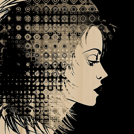 art sketched beautiful girl face in profile with geometric ornament hair on black background, in black and white photo