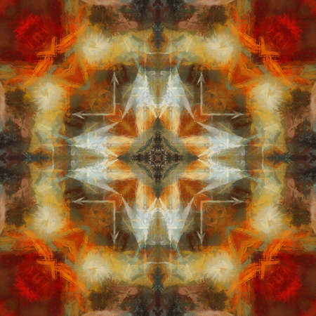 art geometric ornamental vintage pattern in orange, red, brown and green colors photo