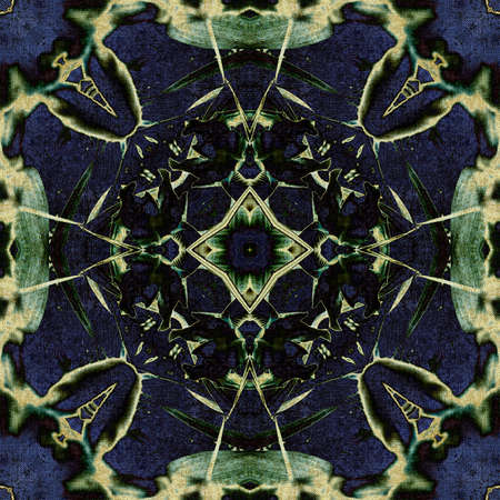 art nouveau ornamental vintage pattern in blue and green colors photo