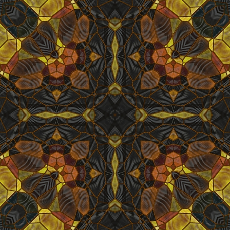art nouveau ornamental vintage pattern in yellow, green, black and brown colors photo