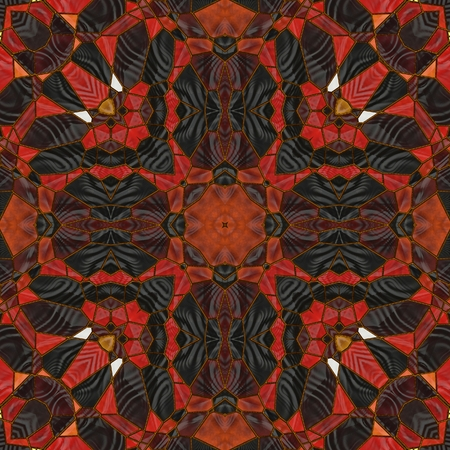 art nouveau ornamental vintage pattern in red, yellow and brown colors photo