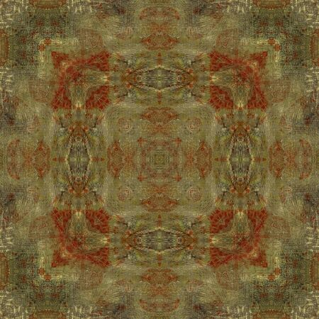 art ornamental vintage pattern in beige, golden, red, brown and green colors photo