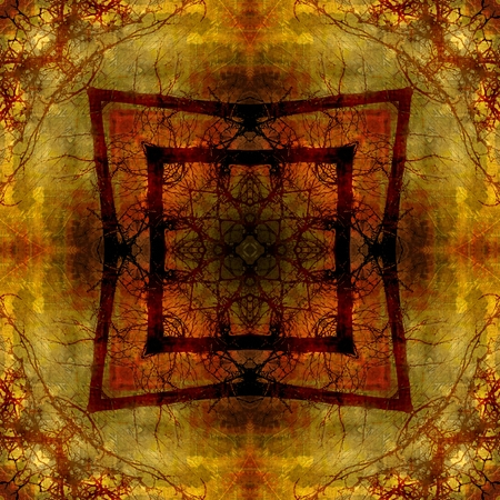 art eastern national traditional pattern, blurred and graphic background in golden,  orange, red and brown colors photo