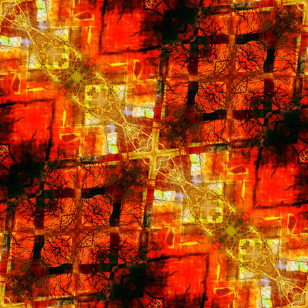 art eastern national traditional pattern, blurred and graphic background in red,  orange, brown and yellow colors photo