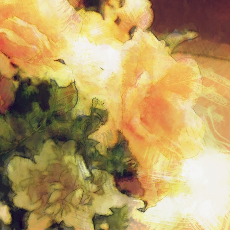 art vintage floral blurred background with bright orange roses and white peony photo