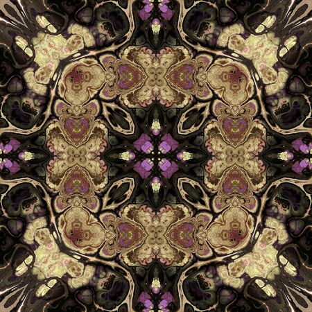 art nouveau geometric ornamental vintage pattern in beige, black and brown photo