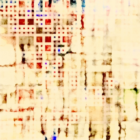 art abstract geometric watercolor beige background with red and brown blots photo