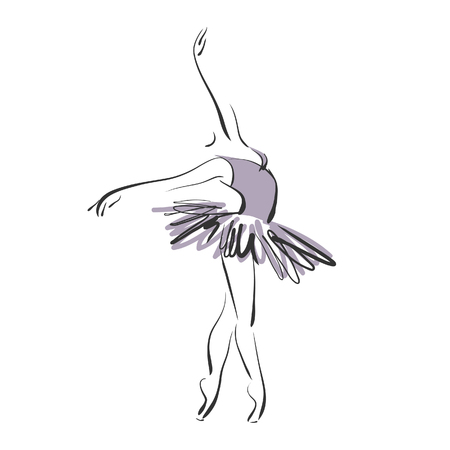 art sketched beautiful young ballerina with tutu in ballet pose on studio on white background. Vector version is also in my gallery.